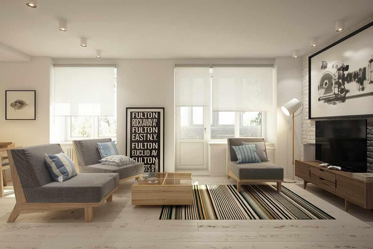 пример красивого интерьера гостиной комнаты 17 кв.м