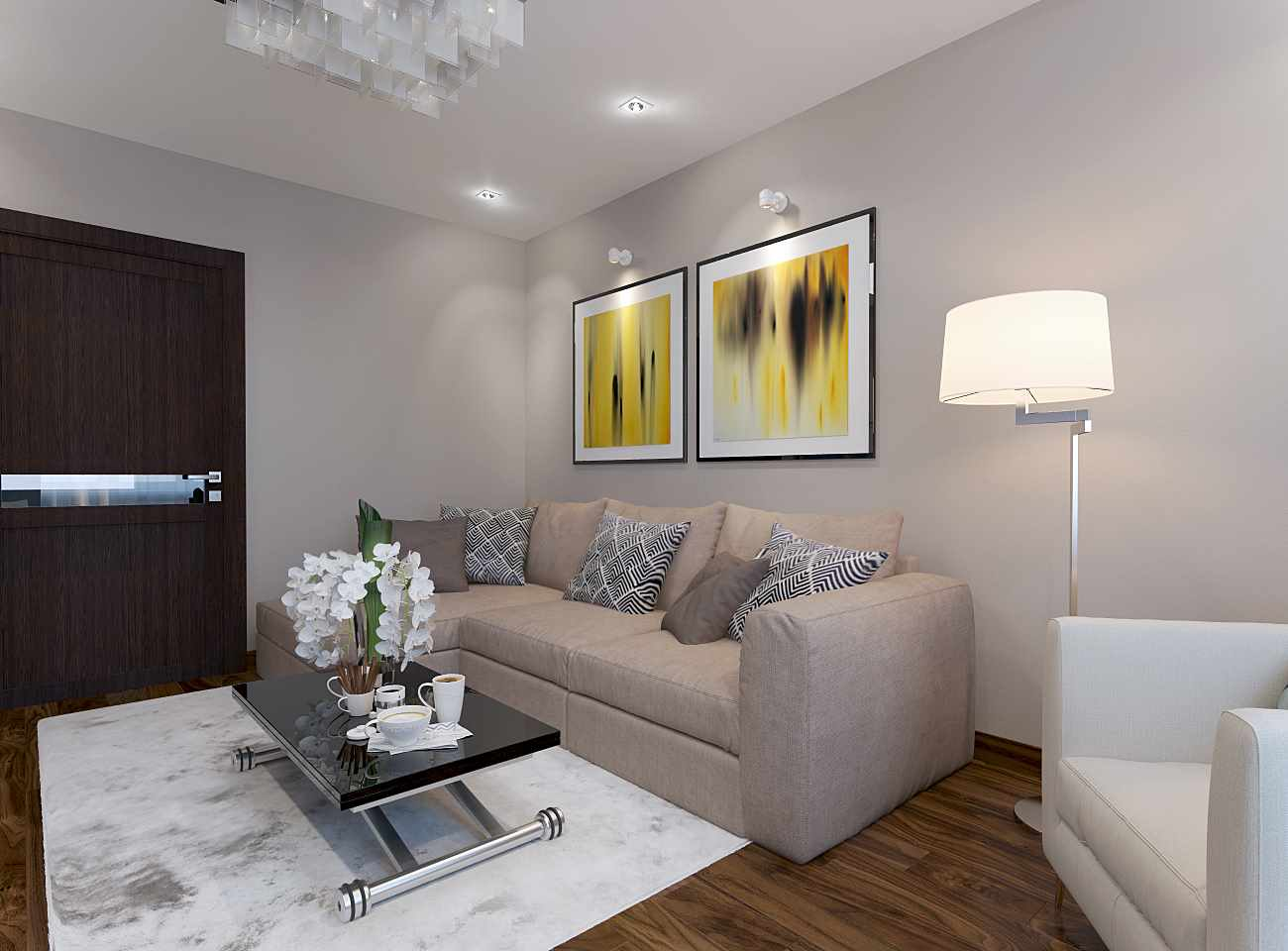 вариант яркого дизайна гостиной комнаты 17 кв.м
